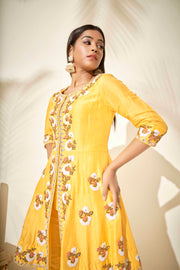 Yellow short Anarkali