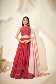 Cherry red lehenga set