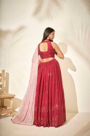 Cheery red lehenga set
