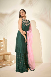 Bottle green Sharara set