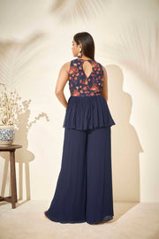 Navy blue floral printed peplum set