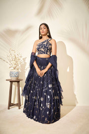 Navy blue one shoulder lehenga