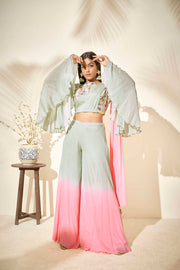 Bell sleeved crop top with flared pants