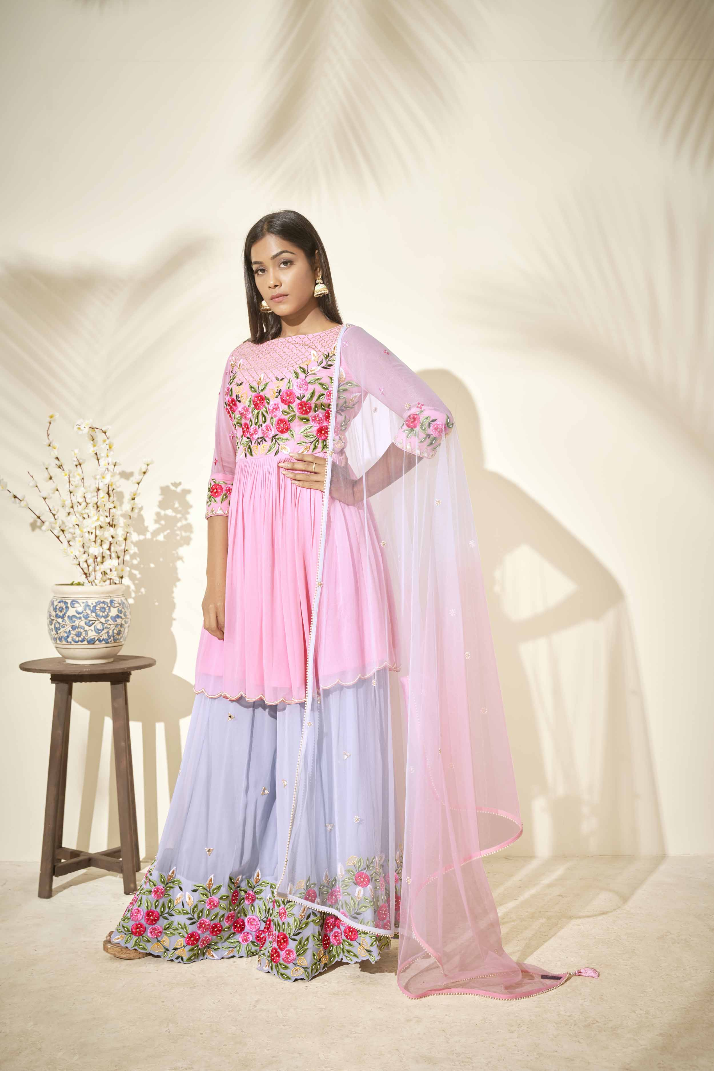 Ombre sharara with thread work