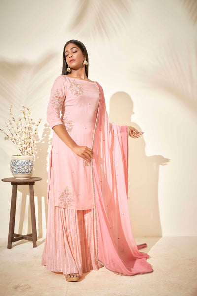 Peach scattered sharara set