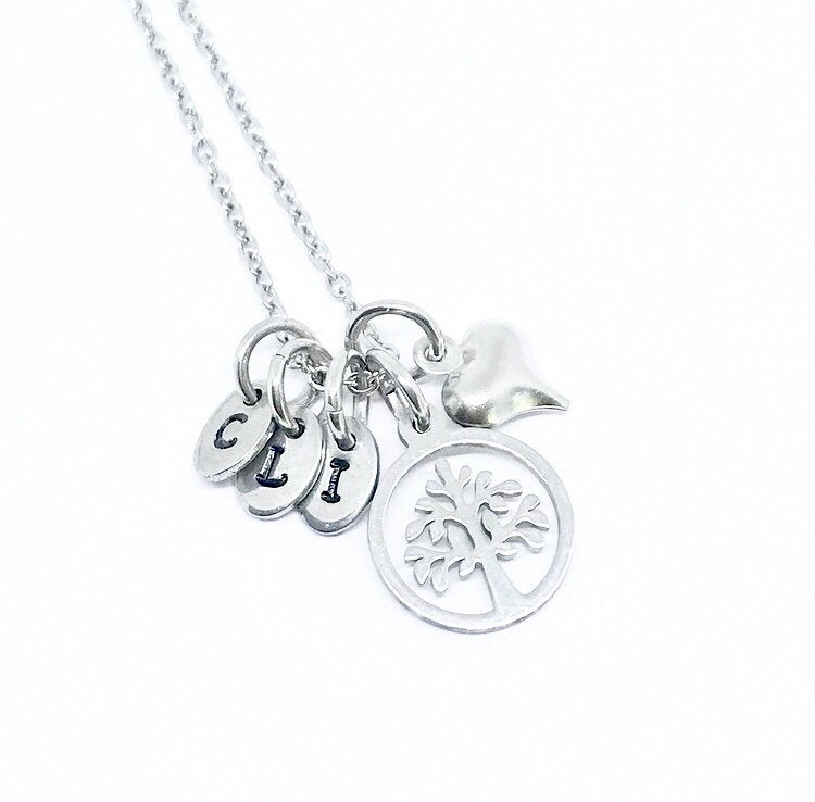 Tree of Life Cross or Heart Initial Necklace