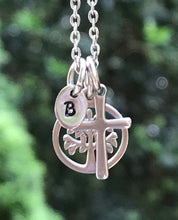Load image into Gallery viewer, Tree of Life Cross or Heart Initial Necklace