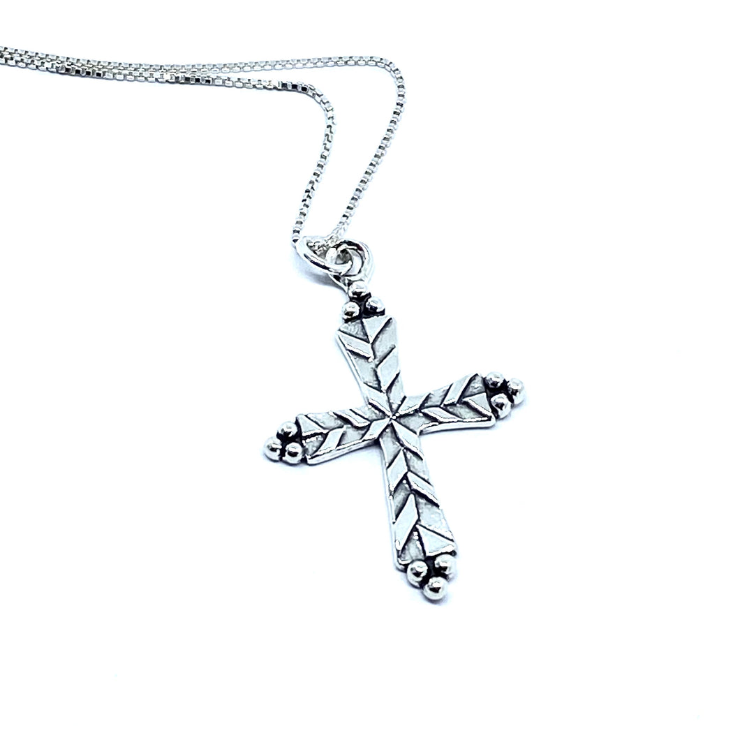 Etched Silver Cross Necklace