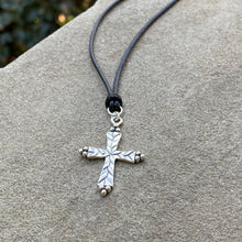 Load image into Gallery viewer, Etched Silver Cross Necklace