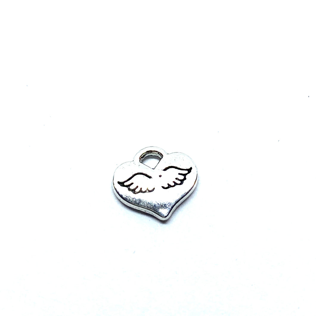 Mini Heart with Stamped Angel Wings