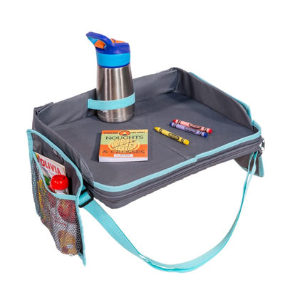 3-IN-1 Travel Tray and Tablet Holder with toddler sippy cup in holder and accessories on tray