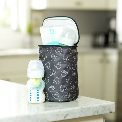 Disney Baby TwoCOOL Double Bottle Cooler, Mickey Minnie Grey with bottle and ice pack inside