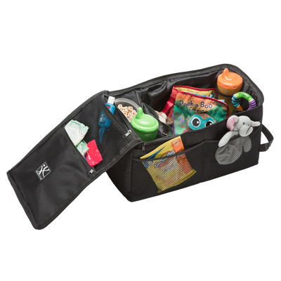 Backseat Butler features 2 cup holders PLUS 10 total pockets with an extra-large main compartment.