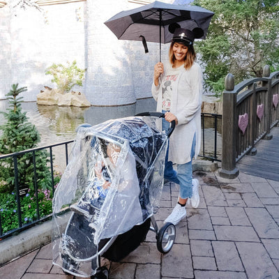 Disney Baby Universal Stroller Weather Shield on stroller with child inside