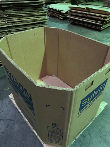 Used 48x40x41 Heavy Duty Octagon Five Wall Gaylord Box , Shipping Box, Pallet box