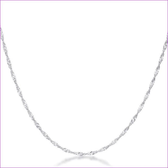 16 Inch Silver Twisted Chain - Necklaces
