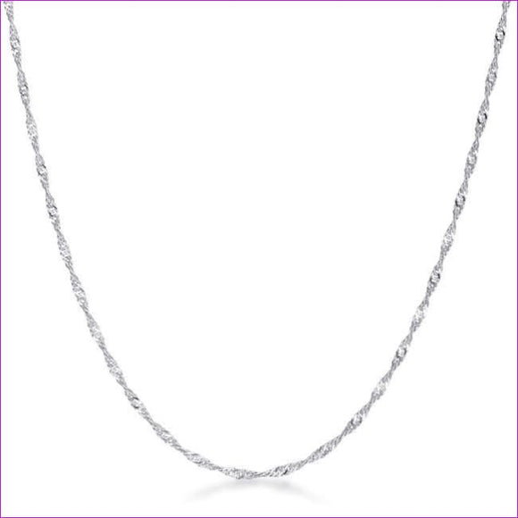 18 Inch Silver Twisted Chain - Necklaces