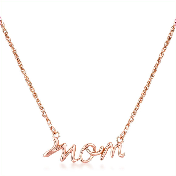 18k Rose Gold Plated Mom Script Necklace - Necklaces