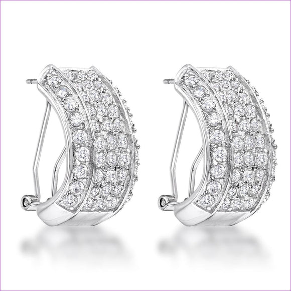 2.9Ct Dazzling Rhodium Plated Clear CZ Huggie - Earrings