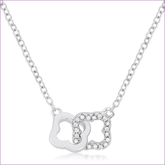 .21 Ct Rhodium Necklace with Floral Links - Necklaces