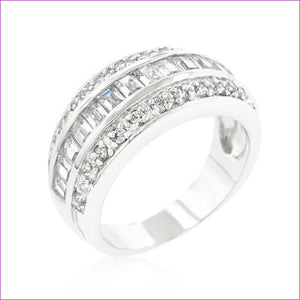 3-Row Cubic Zirconia Band - Rings