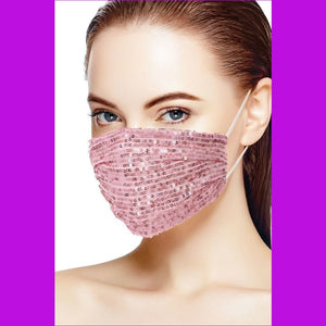 3d Sequin Fashion Facemask - Blush