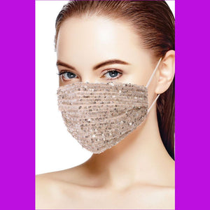 3d Sequin Fashion Facemask - Nude