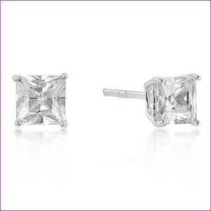 5mm New Sterling Princess Cut Cubic Zirconia Studs Silver -