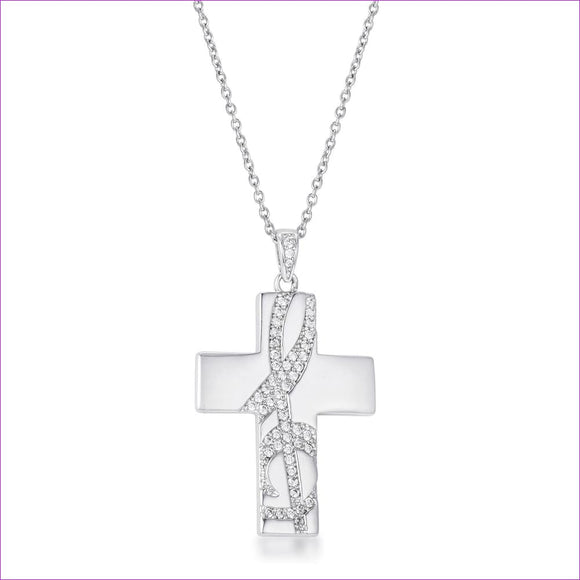 .75Ct Rhodium Pated Elegant CZ Accented Treble Clef Cross