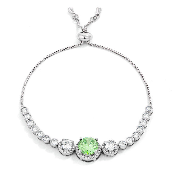 Adjustable Light Green & Clear CZ Bolo Style Tennis Bracelet