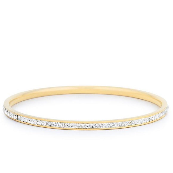 Simple Goldtone Finish Crystal Bangle - Bracelets