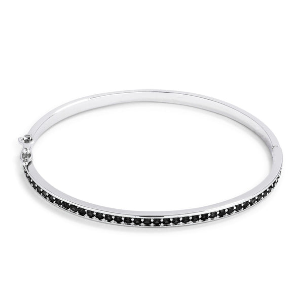 Jet Black CZ Bangle Bracelet - Bracelets