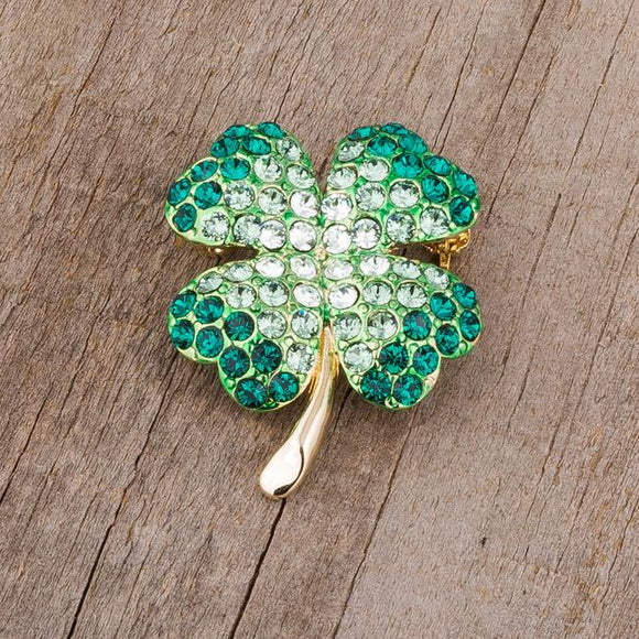 Green And Gold Tone Shamrock Brooch With Crystals - Brooches