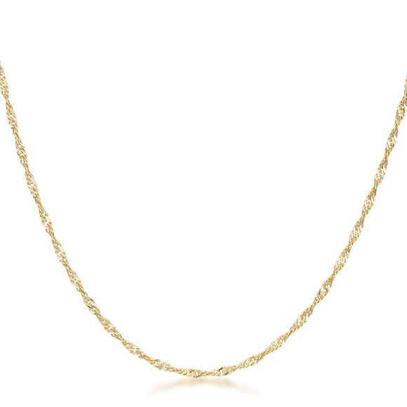16 Inch Gold Twisted Fashion Chain - Necklaces