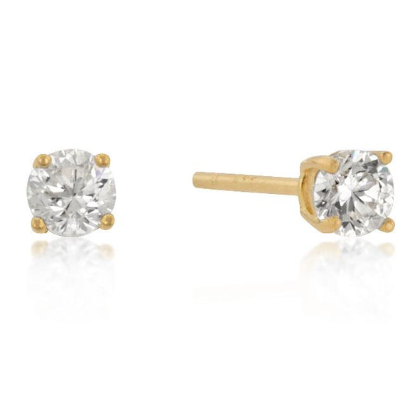 4mm New Sterling Round Cut Cubic Zirconia Studs Gold -