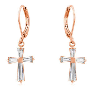 Rose Gold Plated CZ Cross Drop Earrings