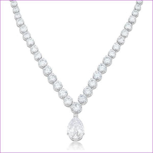 Bejeweled Cubic Zirconia Pear Drop Necklace - Necklaces