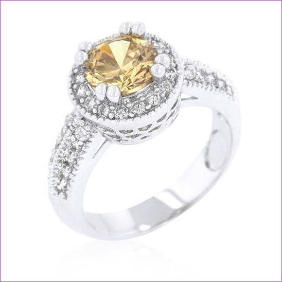 Champagne Halo Engagement Ring - Rings