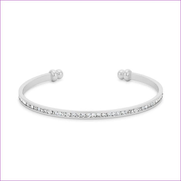 Channel-Set Clear Crystal Cuff - Bracelets