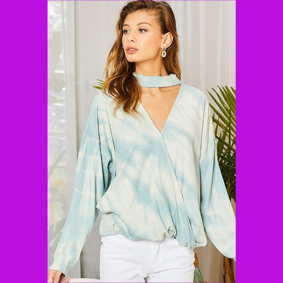 Chocker Neck Surplice Hi-lo Tie-dye Top