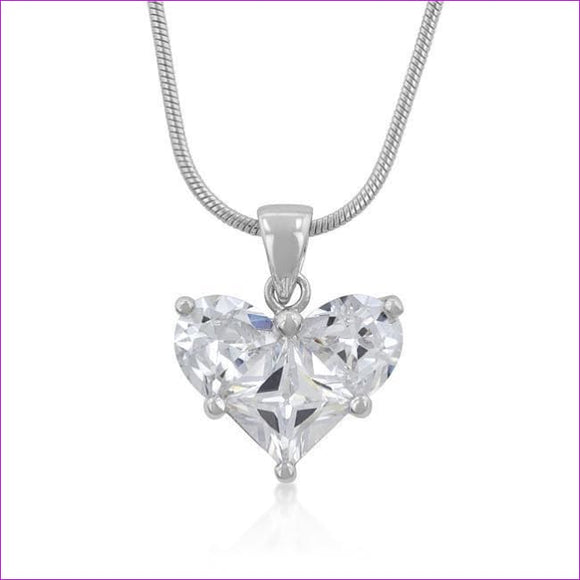 Classic Clear Heart Pendant - Pendants