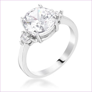 Classic Three Stone Clear CZ Engagement Ring - Rings