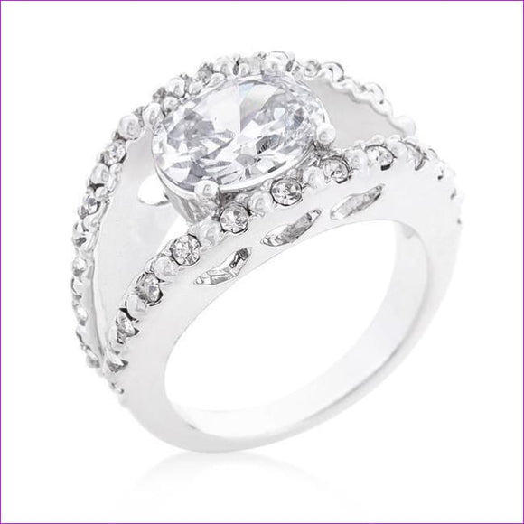 Clear Split Band Engagement Ring - Rings
