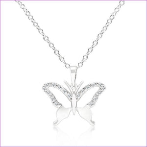Cubic Zirconia Butterfly Pendant Necklace - Pendants