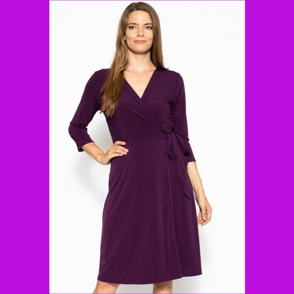 Cute Midi 3/4 Sleeve Dress With A Overlapping V-neck Line