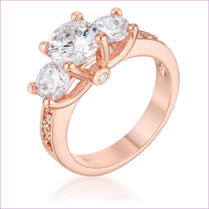 Dazzling Three Stone Engagement Ring with CZ - Rings