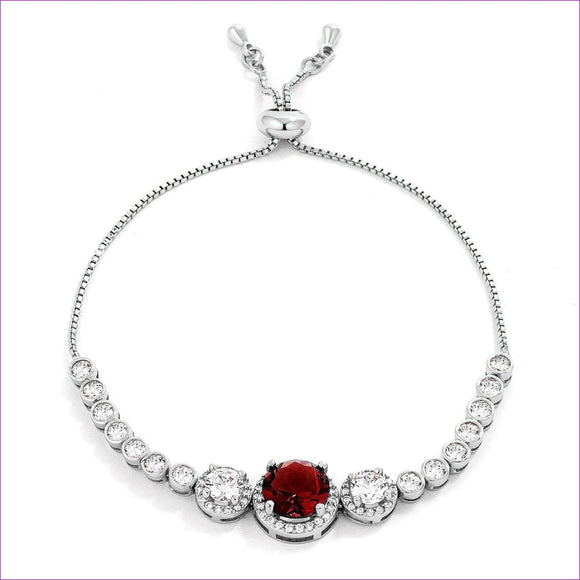 Deep Red and Clear CZ Bolo Style Tennis Bracelet - Bracelets