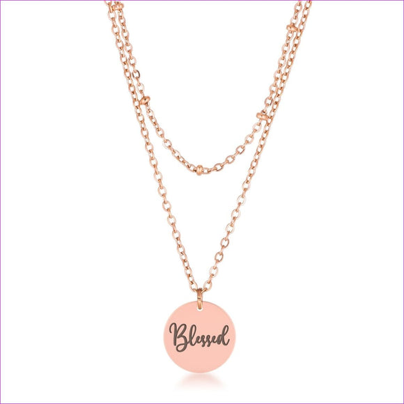Delicate Rose Gold Plated Blessed Necklace - Necklaces
