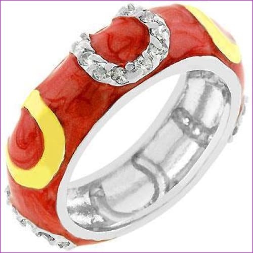 Double Pink Enamel Horseshoe Ring - Rings
