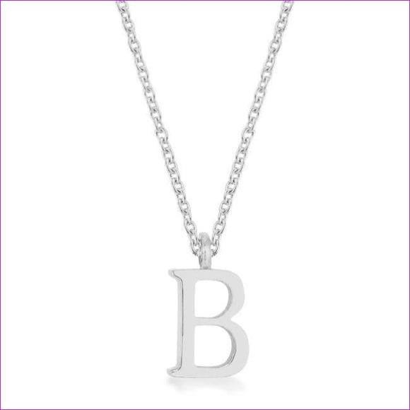 Elaina Rhodium Stainless Steel B Initial Necklace - Pendants